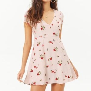 F21 light pink and red roses dress small NWT